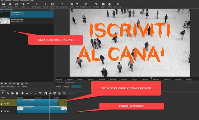 video trasparenti aggiunti a progetti di shotcut