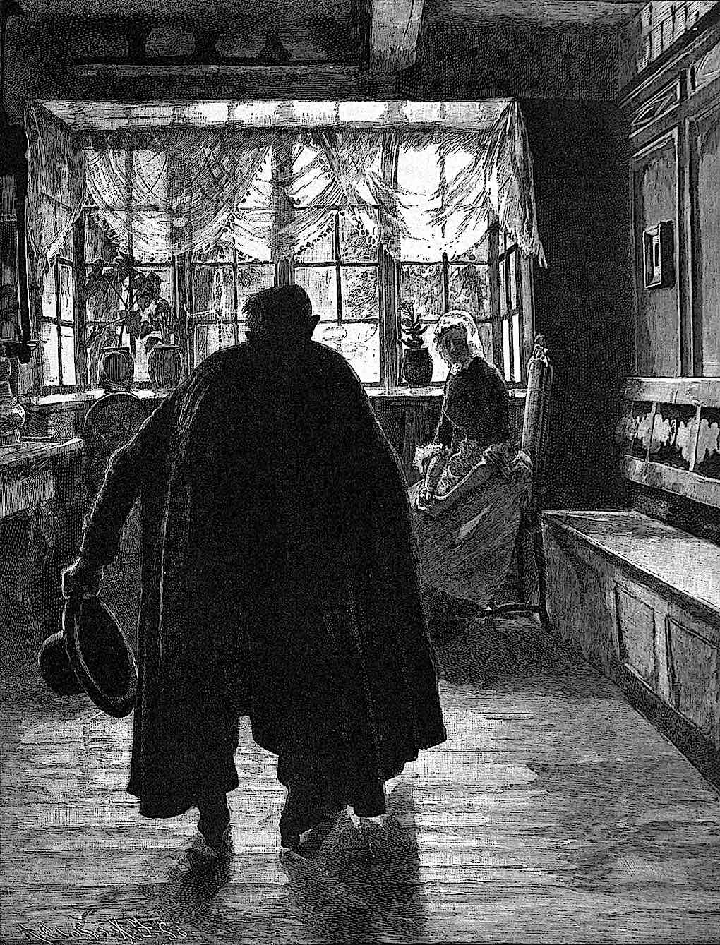 a 1896 German illustration of a home visitor in silhoette