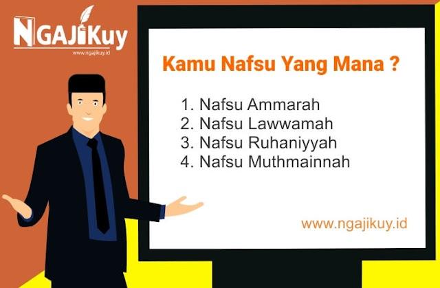 Muthmainnah, Ammarah, Lawwamah, Ruhaniyyah, Kamu Nafsu Yang Mana ?