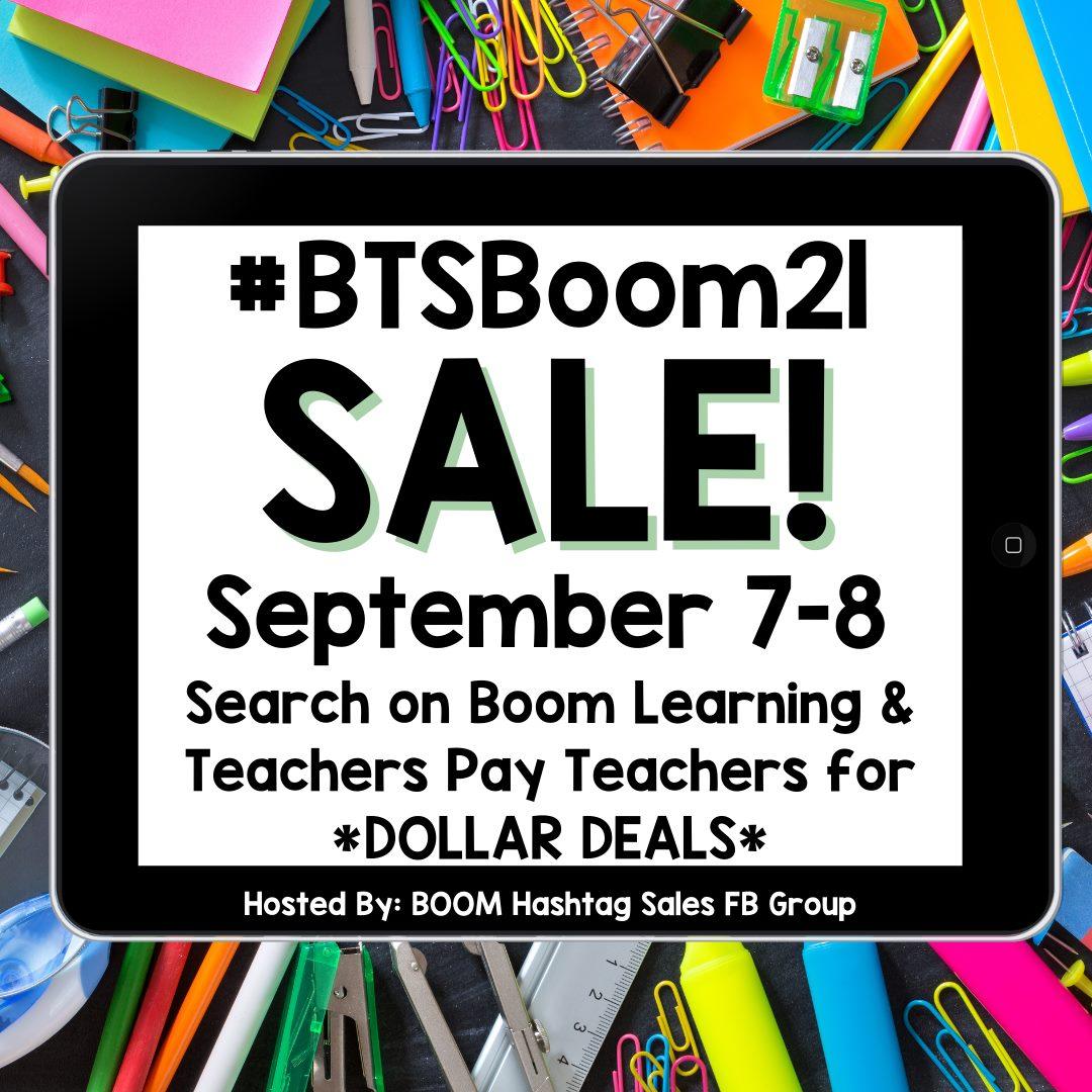 #BTSBoom21 Back to School Boom sale image for September 7 & 8, 2021
