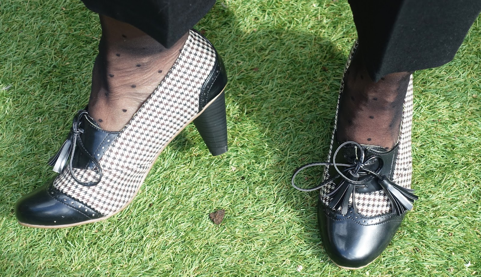 The hounds tooth trend works well in footwear too as these Banned shoes show