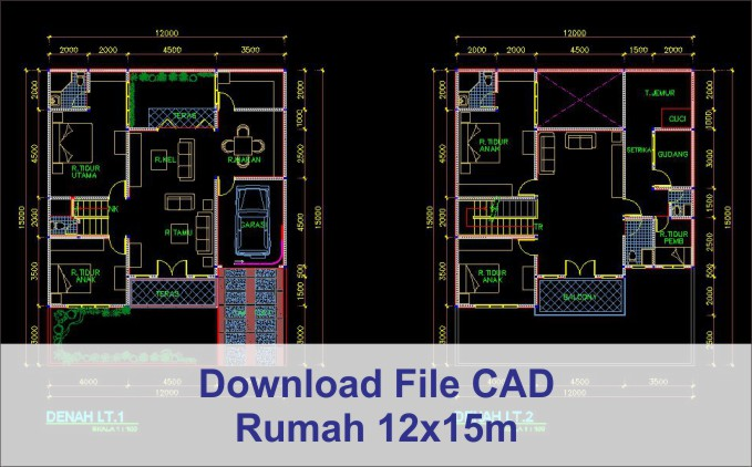 download rumah 12x15 File AutoCad