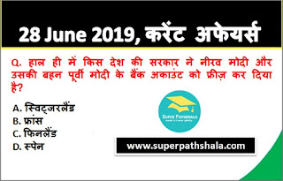 Daily Current Affairs Quiz 28 June 2019 in Hindi