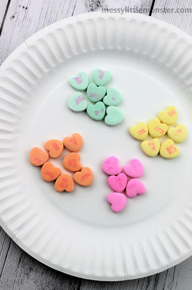 sorting colors math activity using conversation hearts.