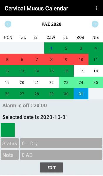 [Wykres cyklu w aplikacji mobilnej Cervical Mucus Calendar]
