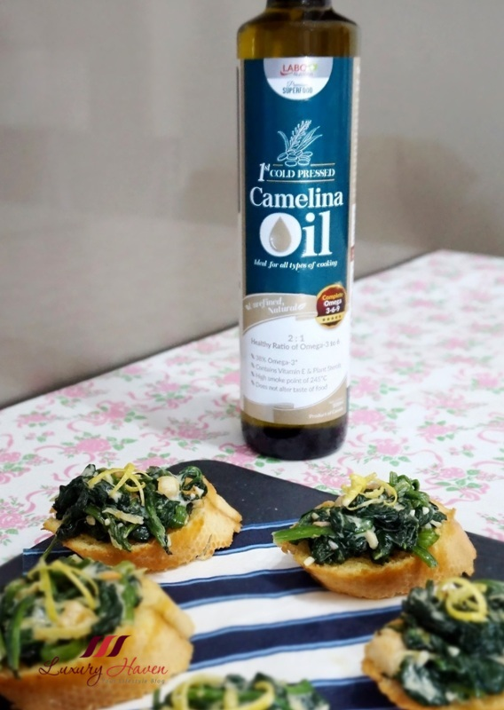 labo camelina oil spinach baguette
