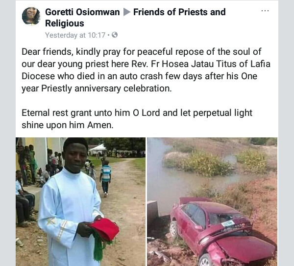 Photos: Three days after celebrating one year priestly ordination anniversary, young Catholic priest dies in ghastly accident in Nasarawa