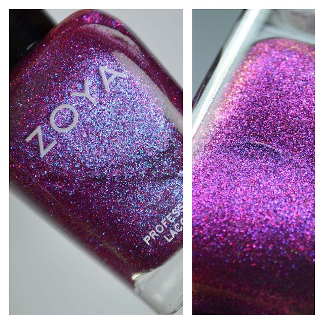 purple holographic nail polish in a bottle