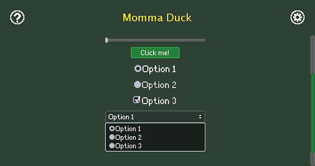 A screenshot from Momma Duck showing some widgets with the new pixelated styles.