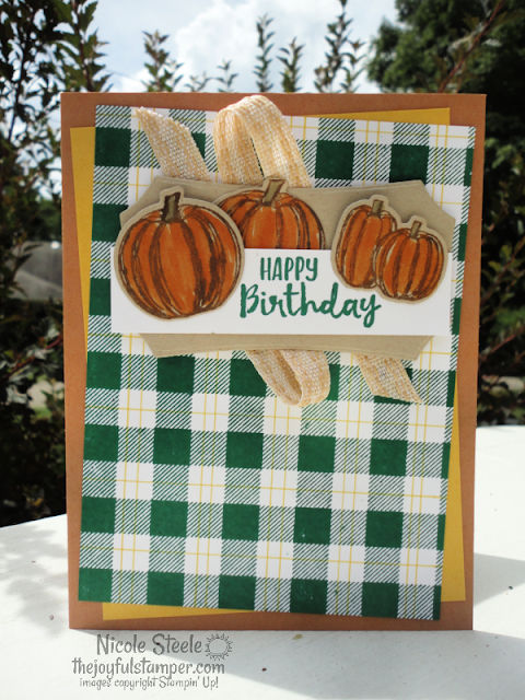 gather together, buffalo check, pumpkins, plaid, fall, guy cards, masculine, birthday cards, handmade cards, stampin' up!, nicole steele, the joyful stamper, independent stampin' up! demonstrator, pittsburgh pa