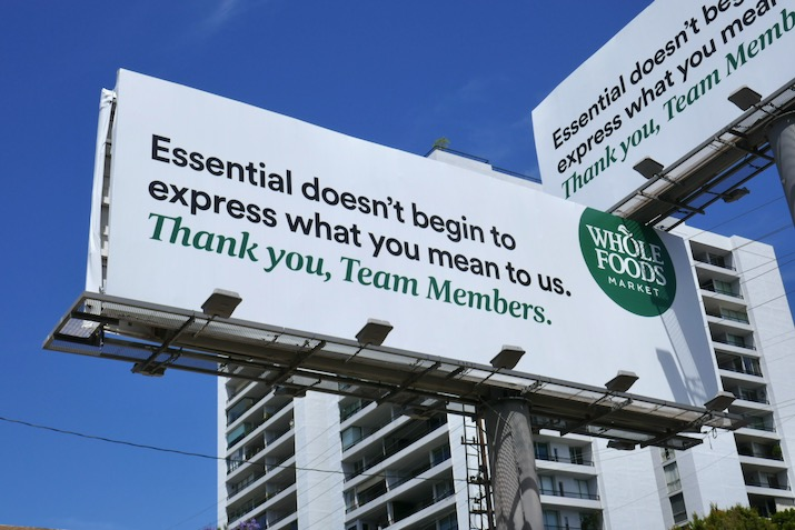 Thank you Team Members Whole foods billboard