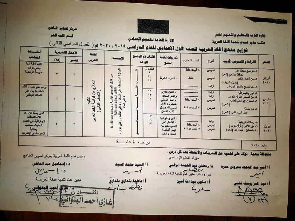 توزيع منهج اللغة العربية لصفوف المرحلة الإعدادية ترم أول 2019 / 2020 0