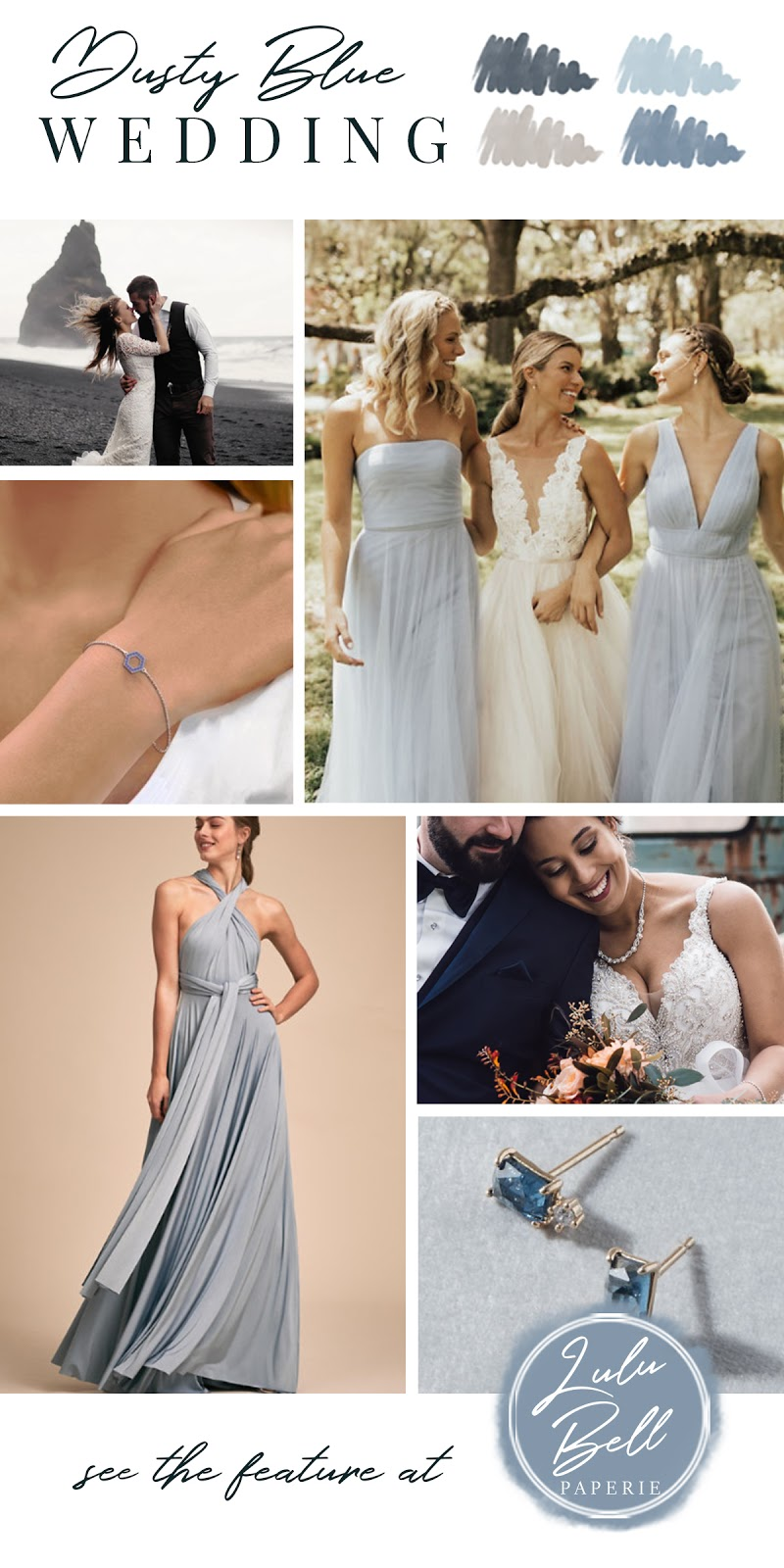 Dusty Blue Navy and Gray Wedding Color Palette Inspiration