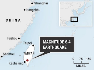 Gempa Taiwan Mencapai 6,4 SR