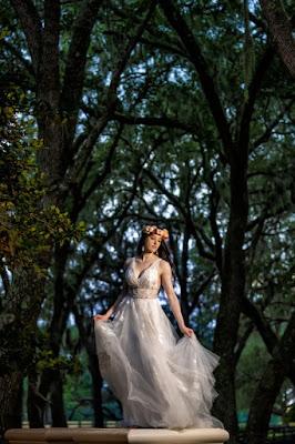 bride swaying in dress