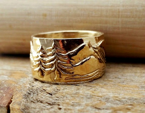Wide Gold Ring Band with a Mountain Tree and River Scene listed