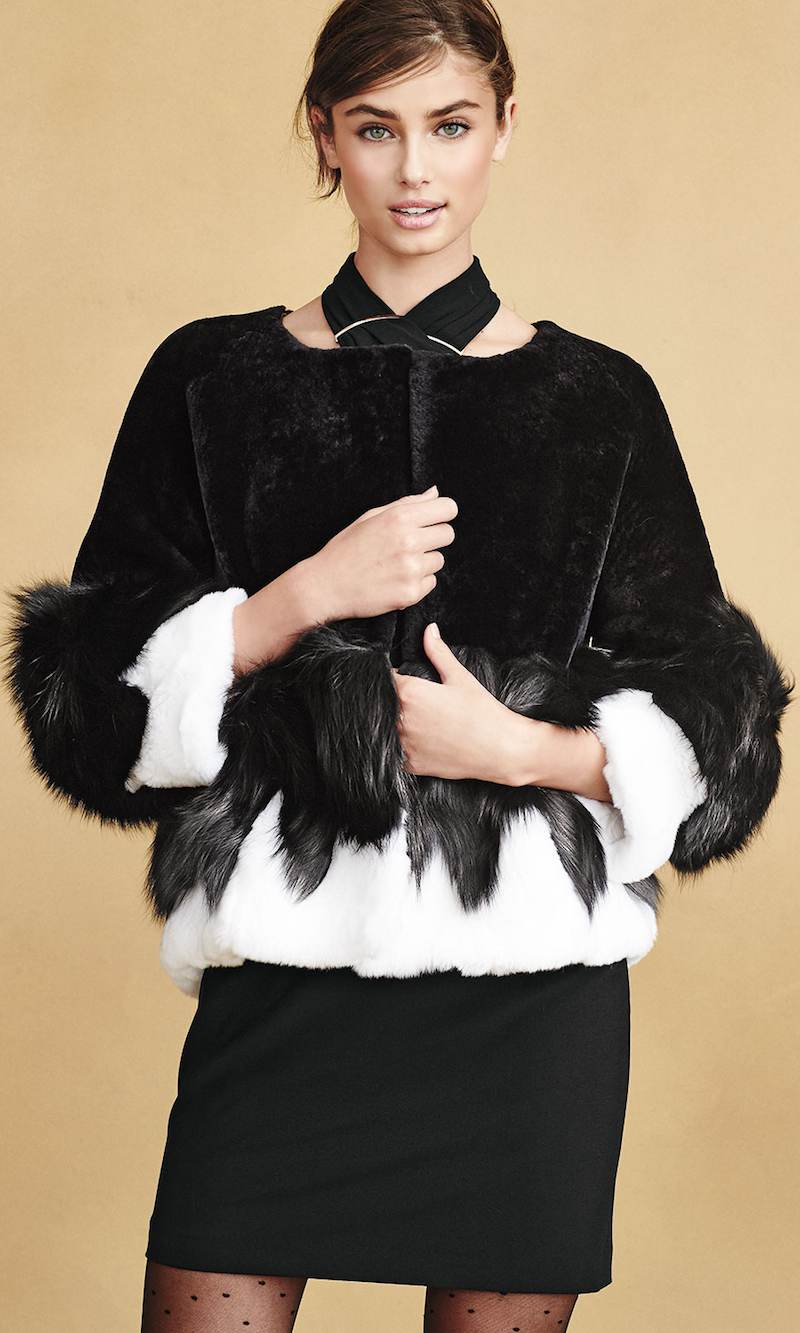 Halston Heritage Short Mixed-Fur Jacket