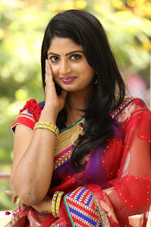 Actress Mounica Pictures in Saree at Tholi Kiranam Press Meet  0003.JPG