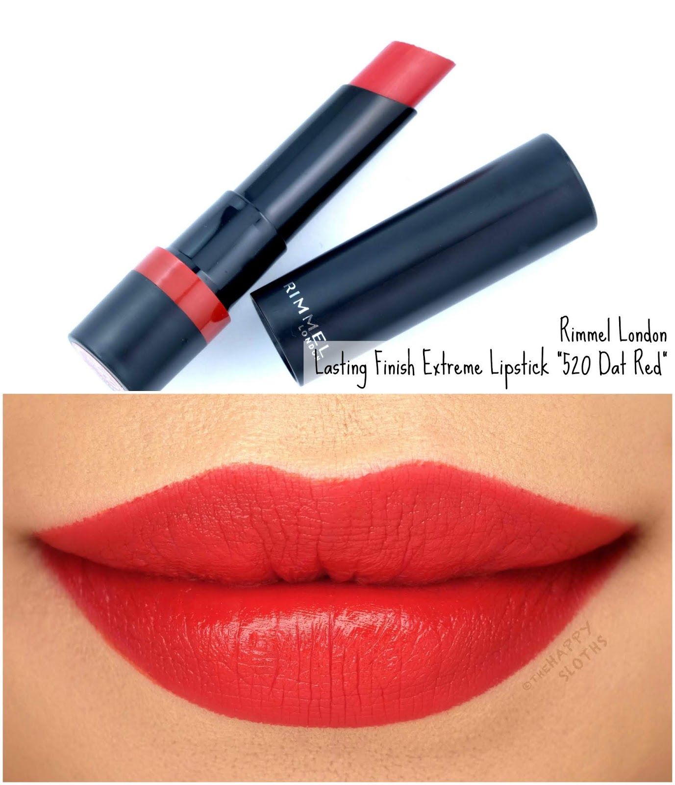 "Rimmel London | Lasting Finish Extreme Lipstick in ""520 Dat Red"": Review and Swatches"