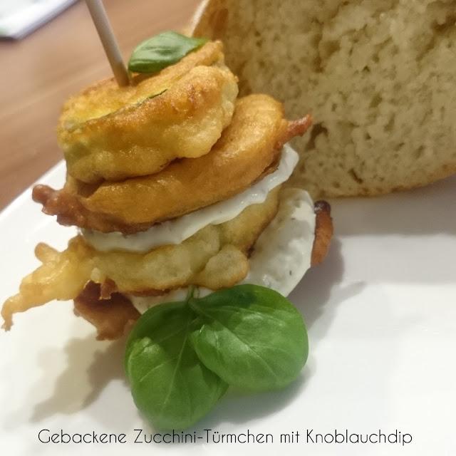 [Food] Gebackene Zucchini-Türmchen mit Knoblauchdip