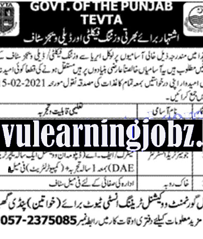 Latest Jobs 2021 in Government Vocational Training Institute for Women Pindi Gheb TEVTA Punjab Jobs 2021