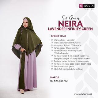 Koleksi Gamis Syari Muslimah Neira lavender Infinity Green Series Set Syari by AULIA Fashion