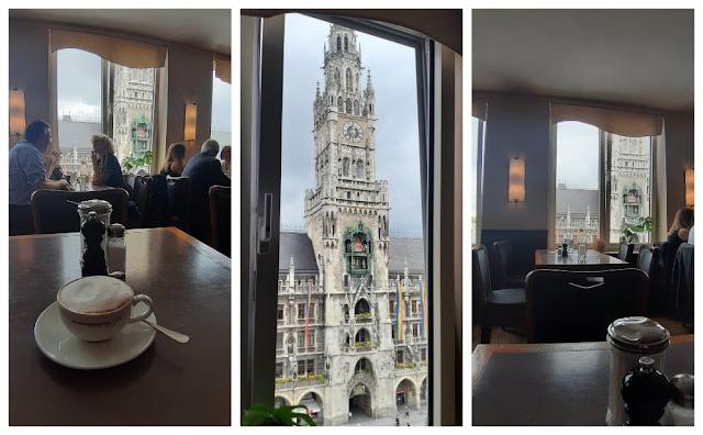 Vistas panorâmicas de Munique - vários lugares para subir e ver a cidade do alto! Cafe am Glockenspiel