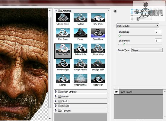 filter artistic paint daubs - tutorial cara membuat efek smudge painting di photoshop