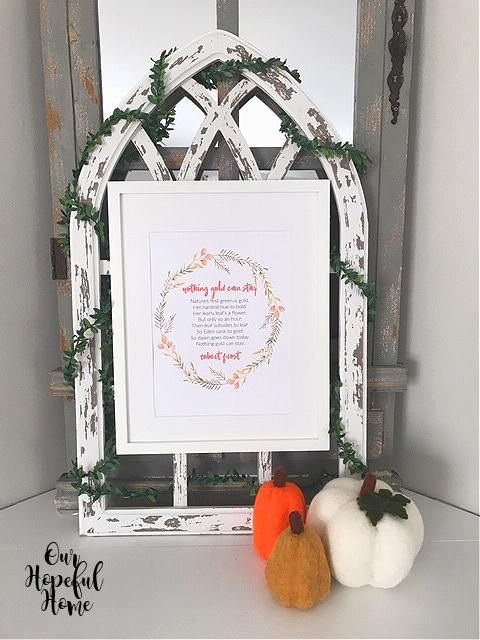 white frame Robert Frost fall poem printable