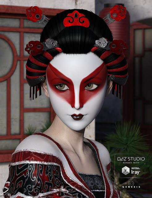 Yuriko Hair for Genesis 3 Female