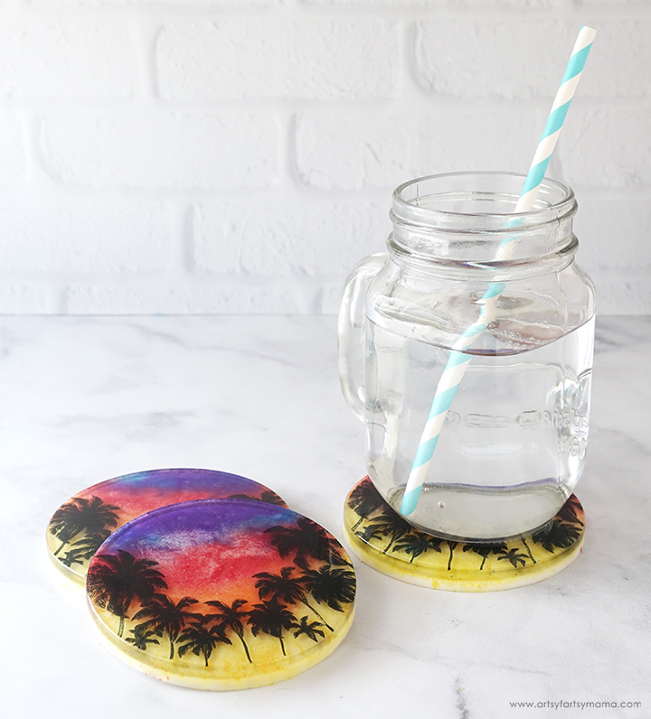 Resin Sunset Coasters with Glass