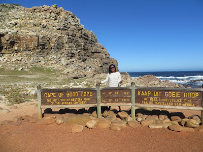 Tausha Cowan at the southwestern point of South Africa