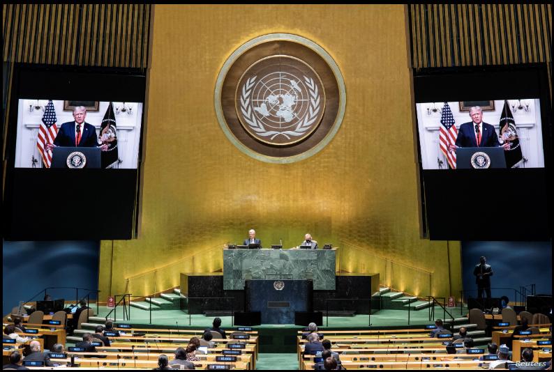 El discurso del presidente Donald Trump fue transmitido virtualmente a la 75 Asamblea General de la ONU el 22 de septiembre de 2020 / REUTERS