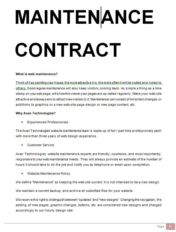 maintenance contract renewal letter sample - in doc | Sample