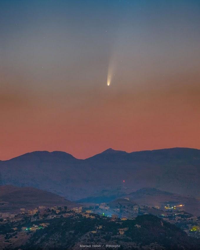 Cometa que se aproxima da Terra é fotografado no céu do Líbano