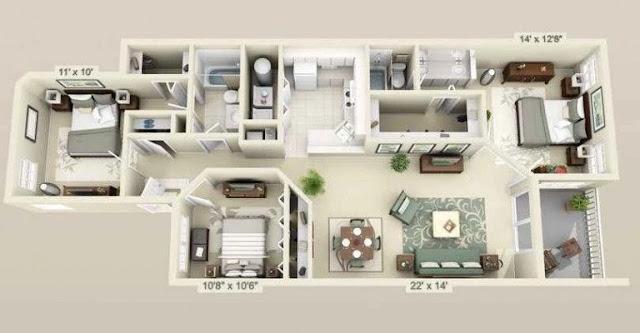 Referensi Denah Rumah Minimalis 3 Kamar Bentuk Memanjang