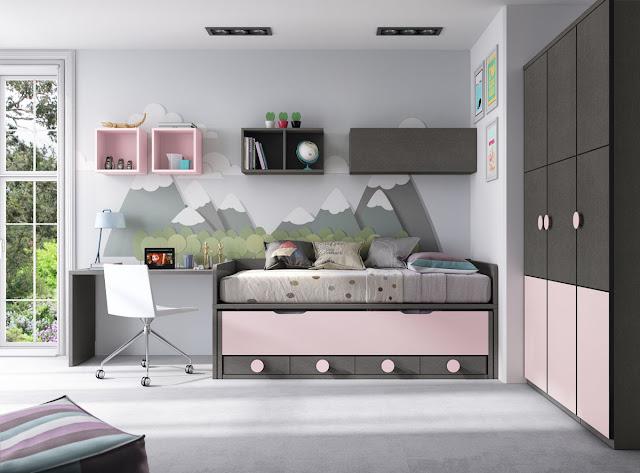 Colores gris y rosa combinación a la perfección en este dormitorio juvenil.