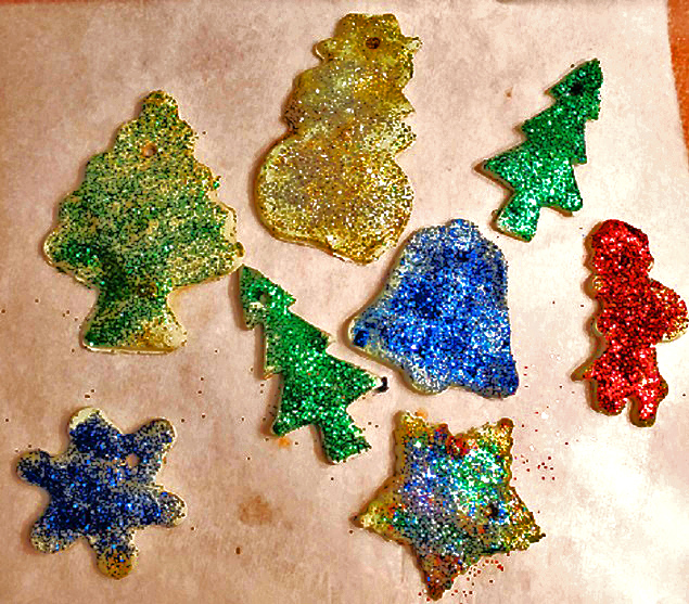 ornaments made from clay art homemade recipe and decorated with glitter glue