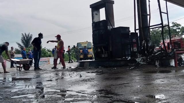 Mesin Pompa SPBU Tebo Terbakar saat Isi Pertaliet ke Motor