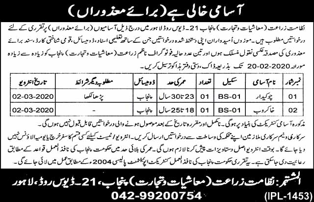 Agriculture Department Govt Of Punjab Jobs