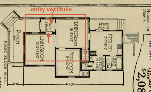 annotated catalog image of first floor layout, Sears Silverdale