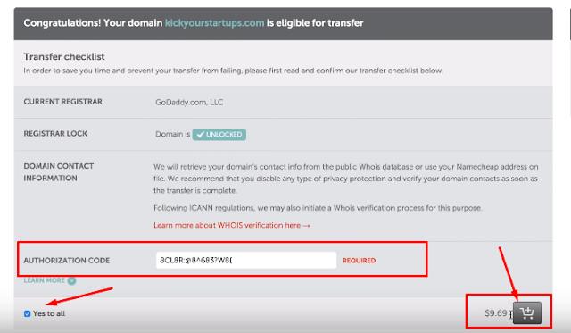 Domain transfer GoDaddy To NameCheap