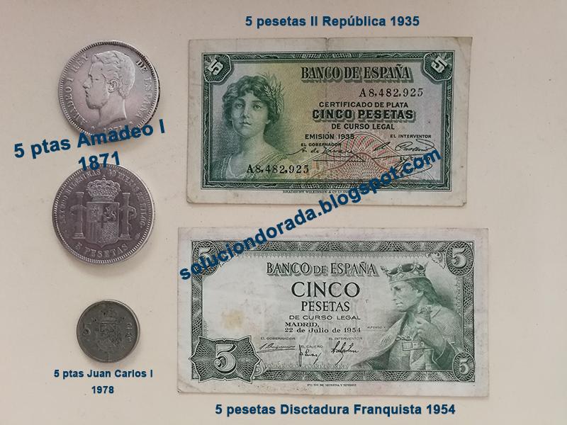La pérdida de valor de las monedas FIAT a través de 5 pesetas