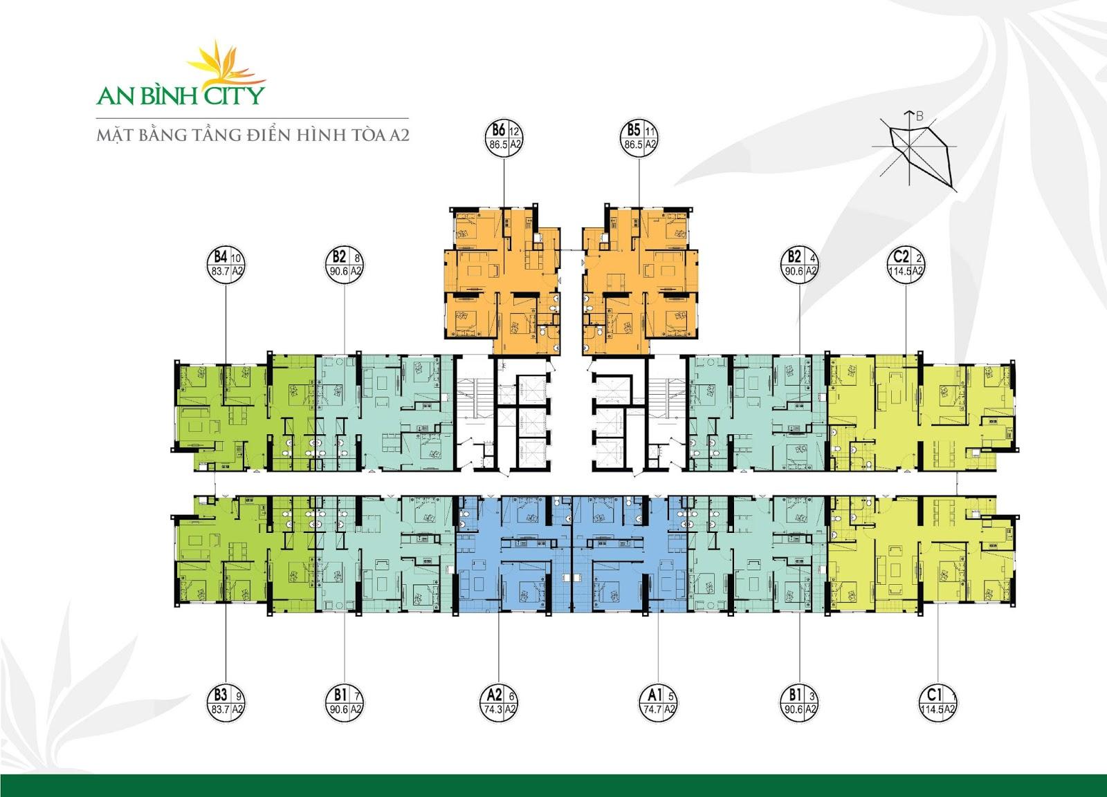 Mặt bằng chi tiết toà A2 tại chung cư An Bình City