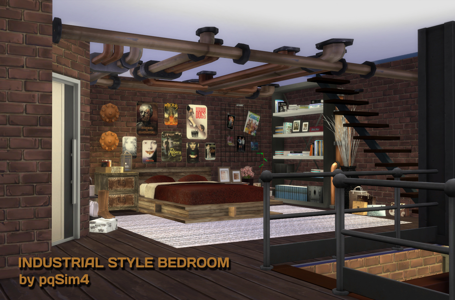 My sims 4 blog industrial style bedroom by pqsim4 - Industrial bedroom furniture sets ...