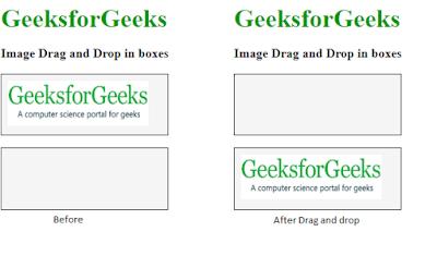ilustrasi penggunaan drag dan drop elemen pada laman html