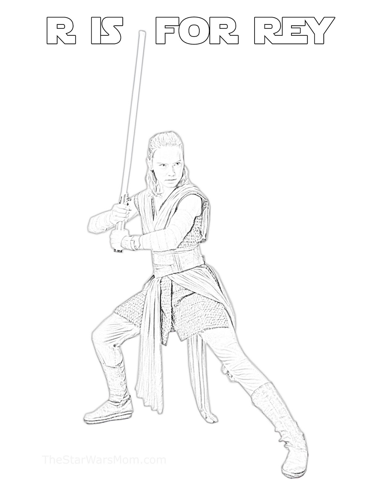 R Is For Rey Star Wars Alphabet Coloring Page The Star Wars Mom