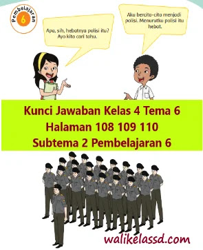 Kunci Jawaban Kelas 4 Tema 6 Halaman 108 109 110 Subtema 2 Pembelajaran 6