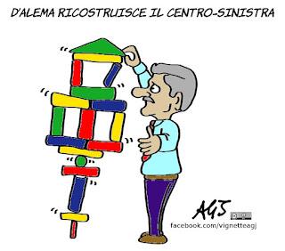 d'alema, renzi, centrosinistra, satira, vignetta