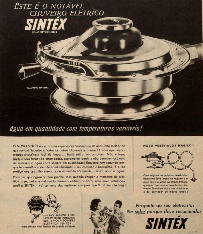 Propaganda antiga da Sintéx com seu chuveiro elétrico em 1960